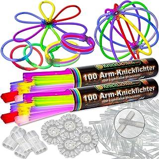 KnickLichterDE Pulseras Fluorescentes, 200 Unidades, 7 Colores, con Accesorios