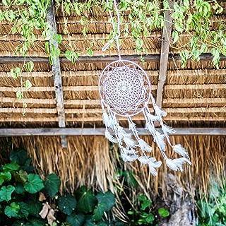 Caught Dreams Dream Catcher ~ Handmade All White Crochet Dreamcatcher 10 inch Crochet Diameter x 23 inch Long Feathers!