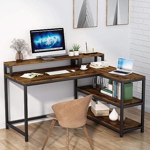 Tribesigns Computertisch, L-förmiger Schreibarbeitsplatz, Heimbüro, Studiertisch mit Monitorständer und Ablagen, industrieller Eckschreibtisch