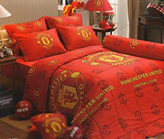 Manchester United Football Club Official Licensed Bedding Set, Bed Sheet, Pillow Case, Bolster Case, MU001 Set A, 42