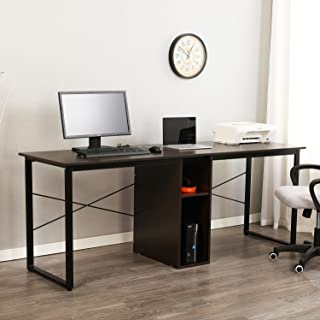 sogesfurniture Large Double Workstation Computer Desk 78 Inches Dual Desk Home Office Desk 2-Person Computer Desk Computer desks with Storage,Black BHUS-HZ0