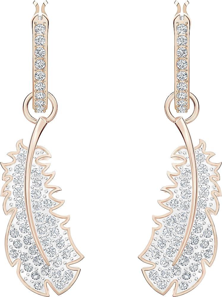 Swarovski orecchini per donna a cerchio nice, bianco, placcato oro rosa 5497872