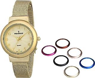 مجموعة ساعات بيجو رفيعة من الفولاذ المقاوم للصدأ ذهبي اللون مع سوار شبكي 7 حواف قابلة للتبديل للنساء 642G