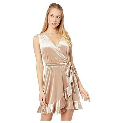 BB Dakota Power Slick Velvet Wrap Dress (Pale Gold) Women