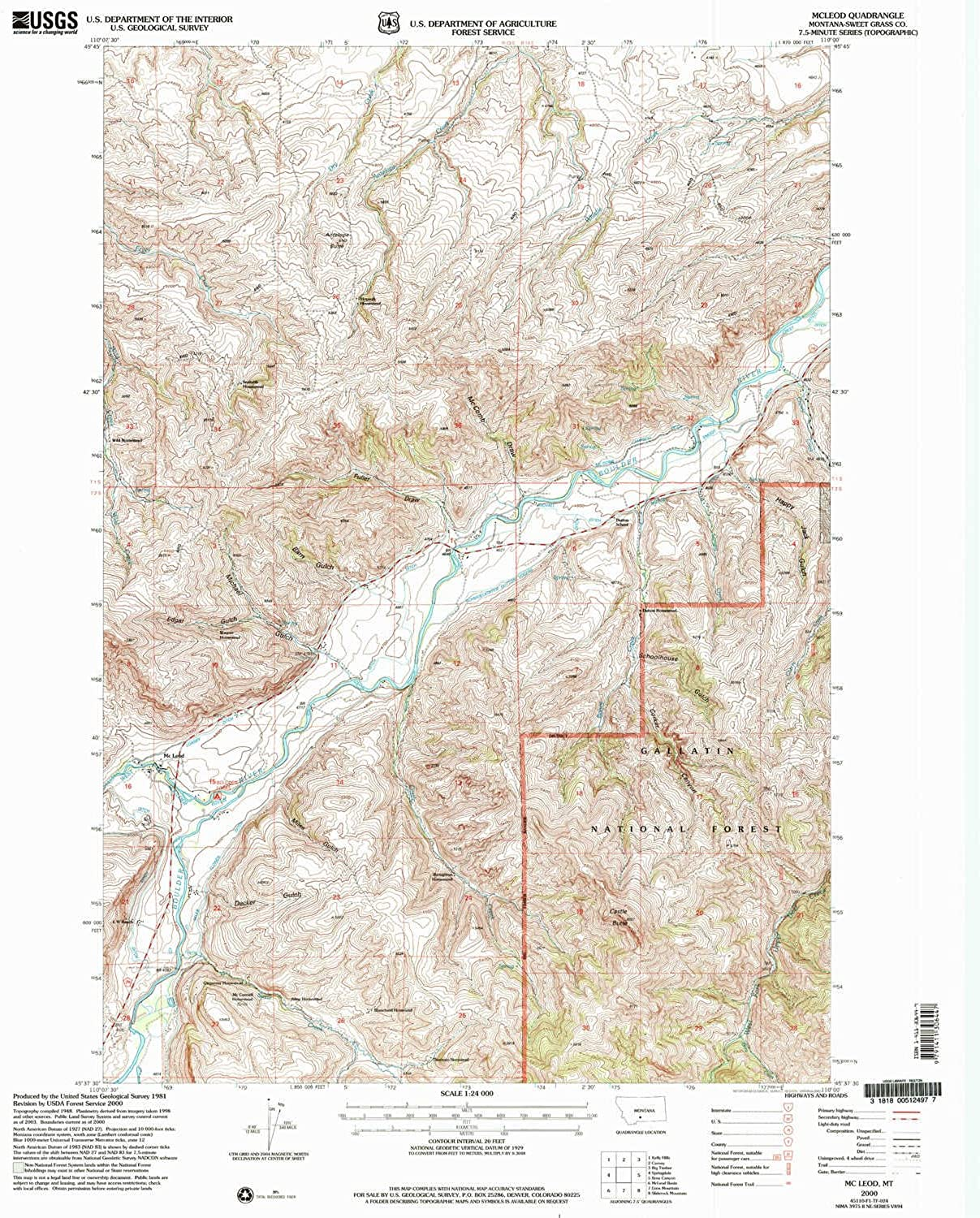 Mc Leod MT topo map, 1 24000 Scale, 7.5 X 7.5 Minute, Historical, 2000, Updated 2005, 26.8 x 22 in