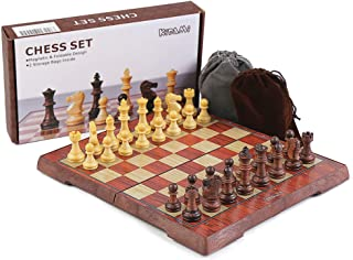 KIDAMI Folding Magnetic Travel Chess Set with 2 Portable Bags for Pieces Storage,..