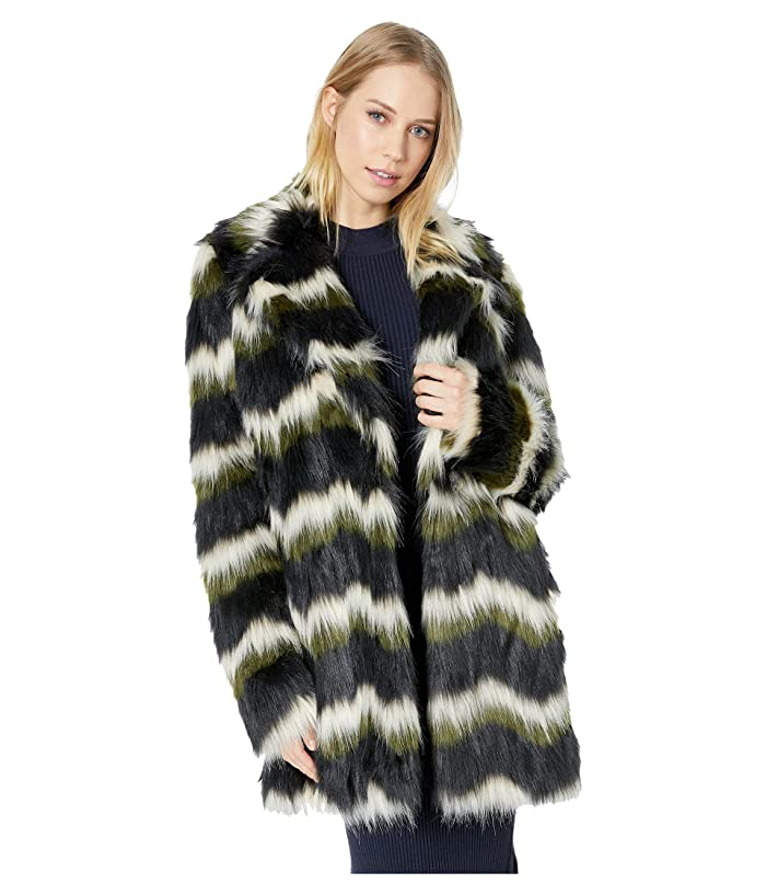 Show Me Your Mumu Raymond Jacket (Zigzag Faux Fur Olive) Women