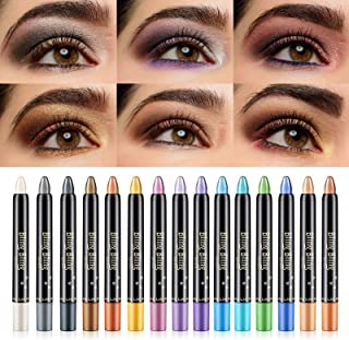 LSxia 15 Colors Glitter Eyeshadow Stick Colorful Set, Shimmer Glitter Pearl Cream Eye-Shadow Stick Eyeshadow Crayon, Shiny...