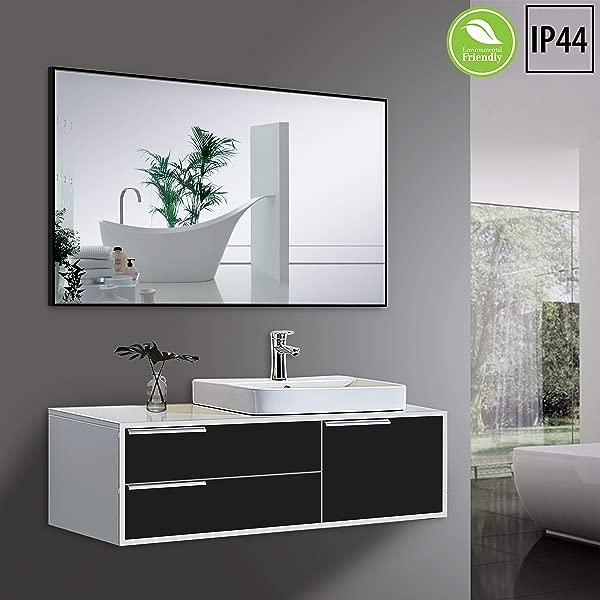 Yukon Clean Large Modern Rectangular Bathroom Frame Wall Mirror Contemporary Premium Silver Glass Panel Aluminium Black Frame IP Rate 44 Waterproof Horizontal Or Vertical Hangs 30x42 Inch
