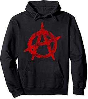 Anarchist Symbol Distressed Political Anarchy Rock Star Gift Pullover Hoodie