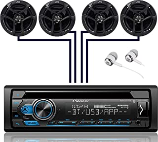 Pioneer DEH-S4100BT Single DIN Bluetooth in-Dash CD USB MP3 AUX AM/FM MIXTRAX Pandora Spotify Android Car Stereo Receiver with 2 Pairs JVC 6.5