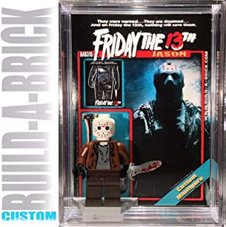 Build-A-Brick Friday the 13th Jason Custom Mini Action Figure w/ Display Case, UV Protected 2-Sided Custom Collectible Movie Poster Card Gift for boys Girls & Adult Vintage Toy Collector Horror Series