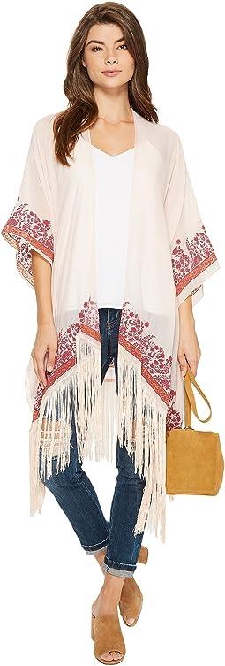BCBGeneration - Stamped Paisley Fringed Kimono