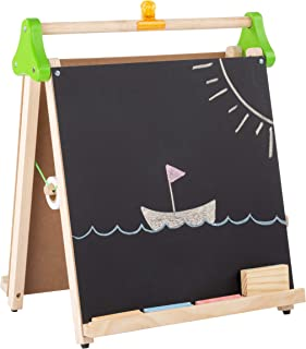 Hey! Play! Three-in-One Easel-Wooden Children's Double Sided Chalkboard and Whiteboard A-Frame with Paper Roll, Brown