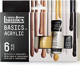 Liquitex BASICS 6 Tube Acrylic Paint Set, 22ml, Metallic & Iridescent
