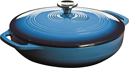 Lodge 3.6 Quart Enamel Cast Iron Casserole Dish with Lid (Carribbean Blue)