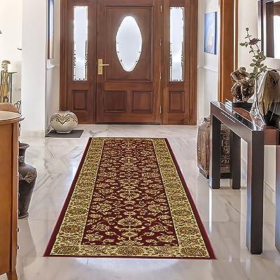 Gertmenian Traditional Rug Platinum High Density Persian Carpet, 2' x 9', Long Runner, Red Eternal Border