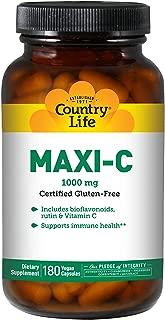 Country Life - Maxi-C Caps 1000 mg with Bioflavonoids, Rutin & Vitamin C - 180 Vegan Capsules