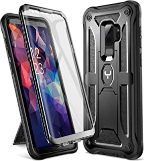 YOUMAKER Designed for Galaxy S9 Plus Case, Heavy Duty Protection Kickstand with Built-in Screen Protector Shockproof Case Cover for Samsung Galaxy S9 Plus 6.2 inch (2018 Release) - Black