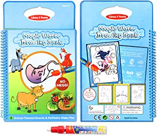 zoordo Reusable Water Painting Graffiti Book - Animal Cards Chidren's Early Education Cognitive Cards - Colouring Doodle Board 1 Magic Drawing Pens Travel Gift Toy for Toddlers Kids Baby