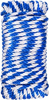 Utility rope Paracord Nylon Twine - 12 strands Diamond solid Braided,WASONS-0006, 100% new polypropelene braided,3/8'' by 75ft, Hank package, Working capacity: 700Lbs,Blue color,