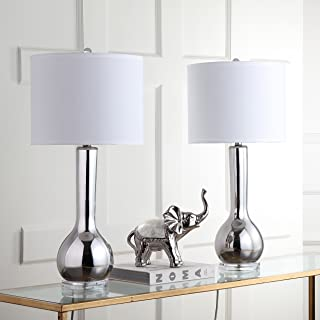 Safavieh Lighting Collection Mae Long Neck Silver Ceramic 30.5-inch Table Lamp (Set of 2)