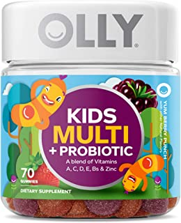 OLLY Kids Multi + Probiotic Gummy Multivitamin, 35 Day Supply (70 Count), Yum Berry Punch, Vitamins A, C, D, E, B, Zinc, P...