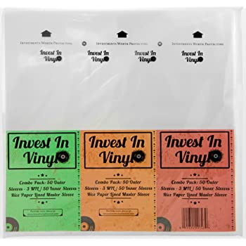 """100 LP Sleeves Combo Pack (50 3 mil Outer & 50 Master Inner Sleeves) 33 RPM 12"""" Vinyl Record Sleeves Provide Your LP Collection with The Proper Protection - Invest In Vinyl"""