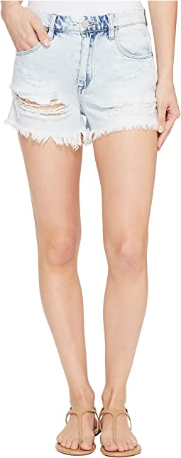 Denim High-Rise Shorts in Love Stoned