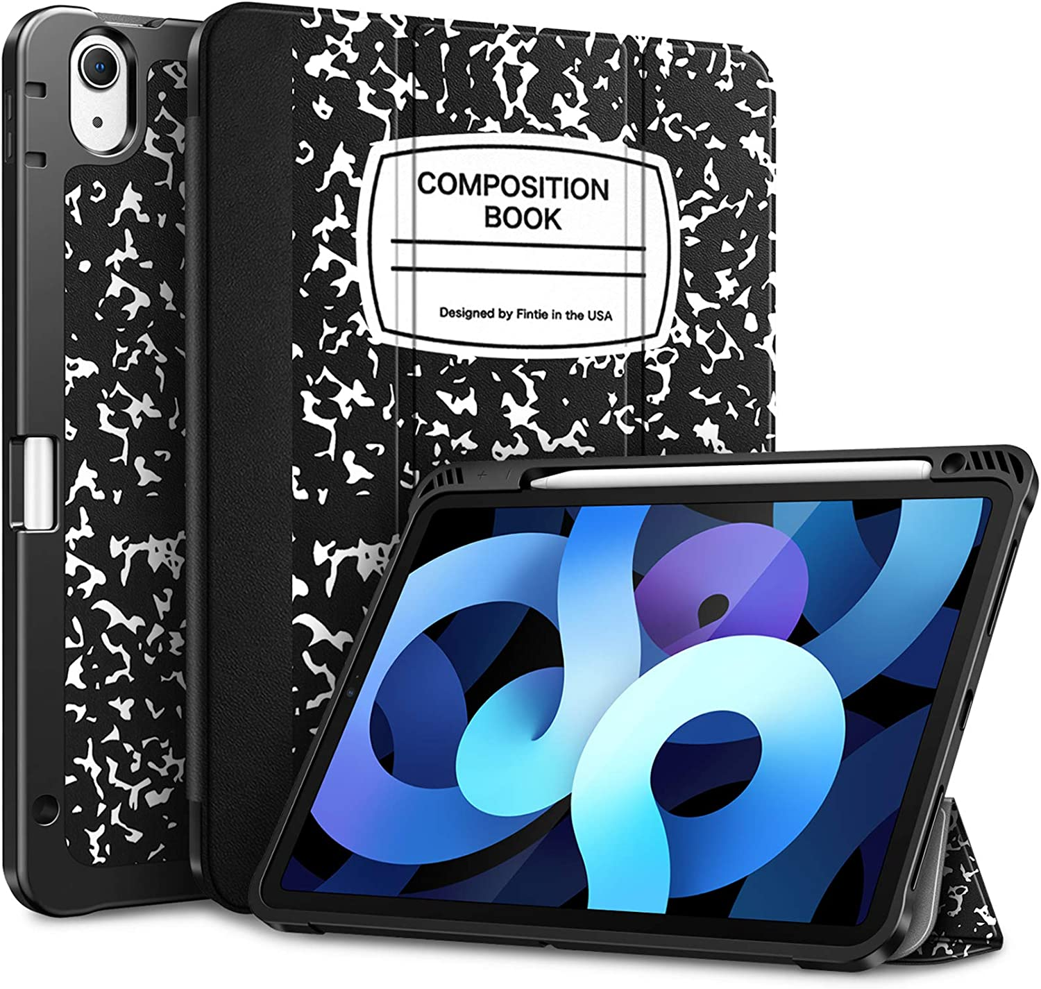 Fintie SlimShell Case for iPad Air 4 10.9 Inch 2020 with Pencil Holder - [Supports 2nd Gen Pencil Charging] Soft TPU Stand Back Cover, Auto Wake/Sleep for iPad Air 4th Generation, Composition Book