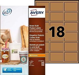 AVERY - Pochette de 360 étiquettes autocollantes et amovibles, Aspect kraft, Personnalisables et imprimables, Format 62 x ...