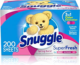 Snuggle Plus SuperFresh Fabric Softener Dryer Sheets with Static Control and Odor Eliminating Technology, Burst, White, 20...