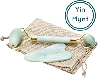 Yin Mynt Anti Aging New Jade Roller for Chi | 100% Real, Green, Natural, Genuine, Royal Jade Gua Sha Set Bundle | Facial Massager, Neck Slimming, Therapy Nephrite Xiuyan