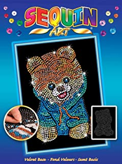 Sequin Art Blue, Teddy Bear Dog, Sparkling Arts and Crafts Picture Kit; Creative Crafts for Adults and Kids