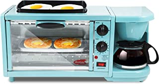 EBK-300BL Maxi-Matic 3-in-1 Multifunction Breakfast Center W/ Toaster Oven, Griddle & Coffee Maker, Blue