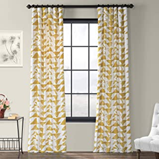 Half Price Drapes PRTW-D35-96 Triad Printed Cotton Twill Curtain, 50 x 96, Gold