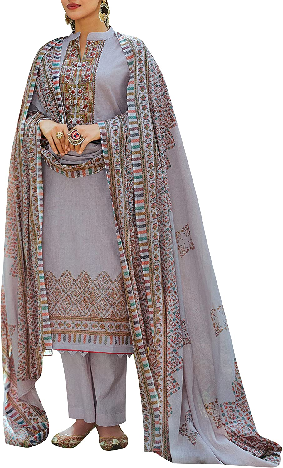 ladyline Indian Pakistani Lawn Printed Embroidered Cotton Salwar Kameez Suit with Palazzo Pants