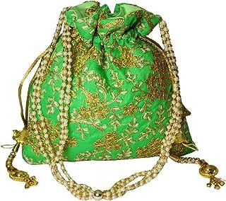 Brown Leaf® Beautiful Thread Work Ethnic Silk Handmade Designer Potli Bag for Girls & Women (Green)