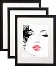 elabo 11x14 Black Picture Frame (3 Pack) - High Definition Plexiglass Display Pictures 8x10 with Mat or 11x14 Without Mat - Vertical or Horizontal Wall Mounting