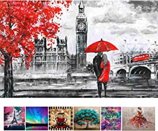 DIY 5D Diamond Painting by Number Kits, Crystal Rhinestone Diamond Embroidery Paintings Pictures Arts Craft for Home Wall Decor-14x20
