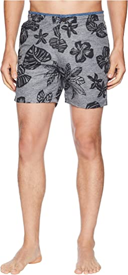 Printed Melange Swim Shorts with Cut & Sewn Waistband