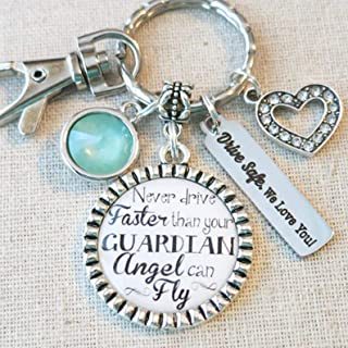 NEW DRIVER Gift, TYPOGRAPHY Never Drive Faster Than Your Guardian Angel Can Fly Sweet 16 Sixteen Keychain, Drive Safe - We Love You Initial Keychain