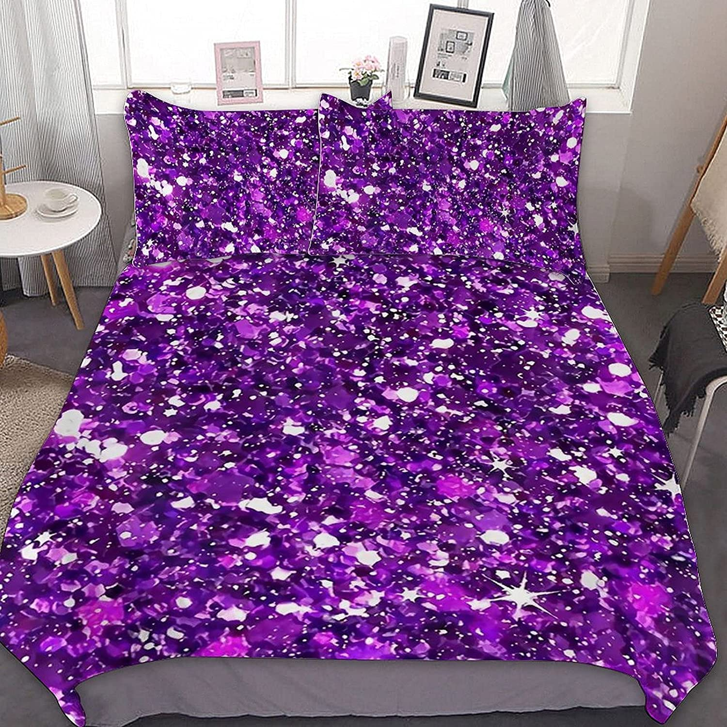 PNNUO Purple Sequins Queen Bed Set Time sale Twin Sacramento Mall Full Comforter Size King