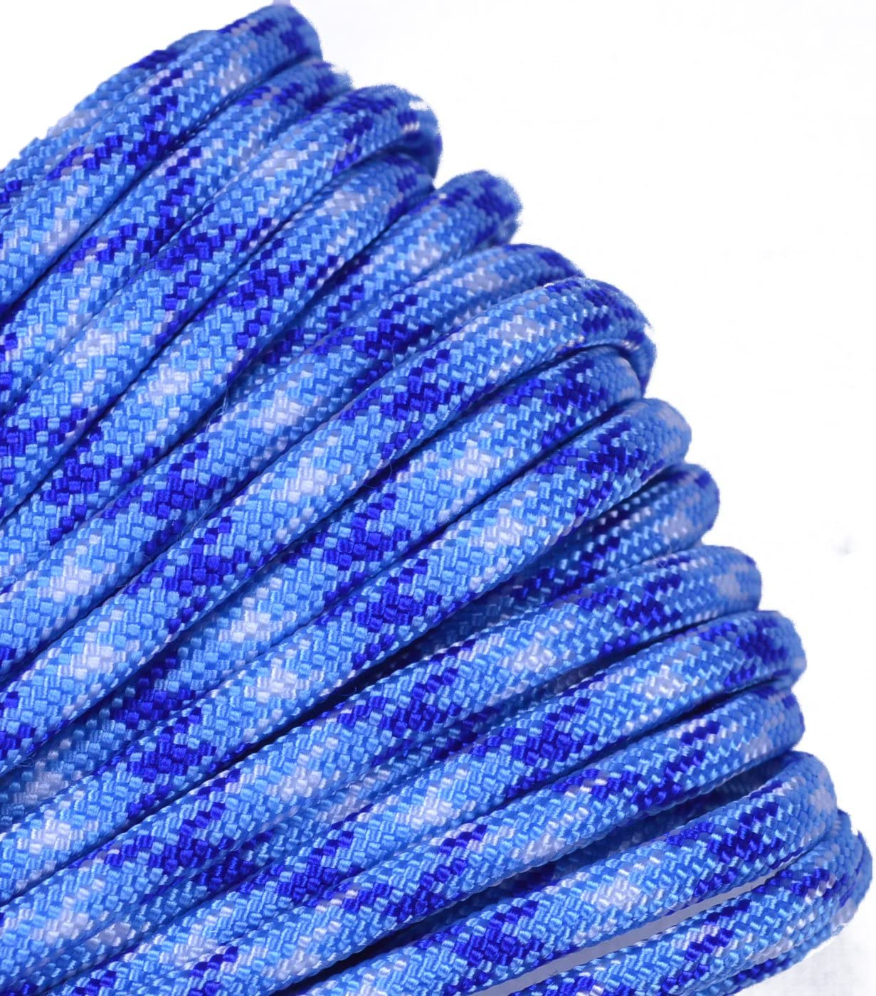 Electric Blue and Silver Stripes 550 Paracord for Paracord Crafts 100 Feet Made in the United States