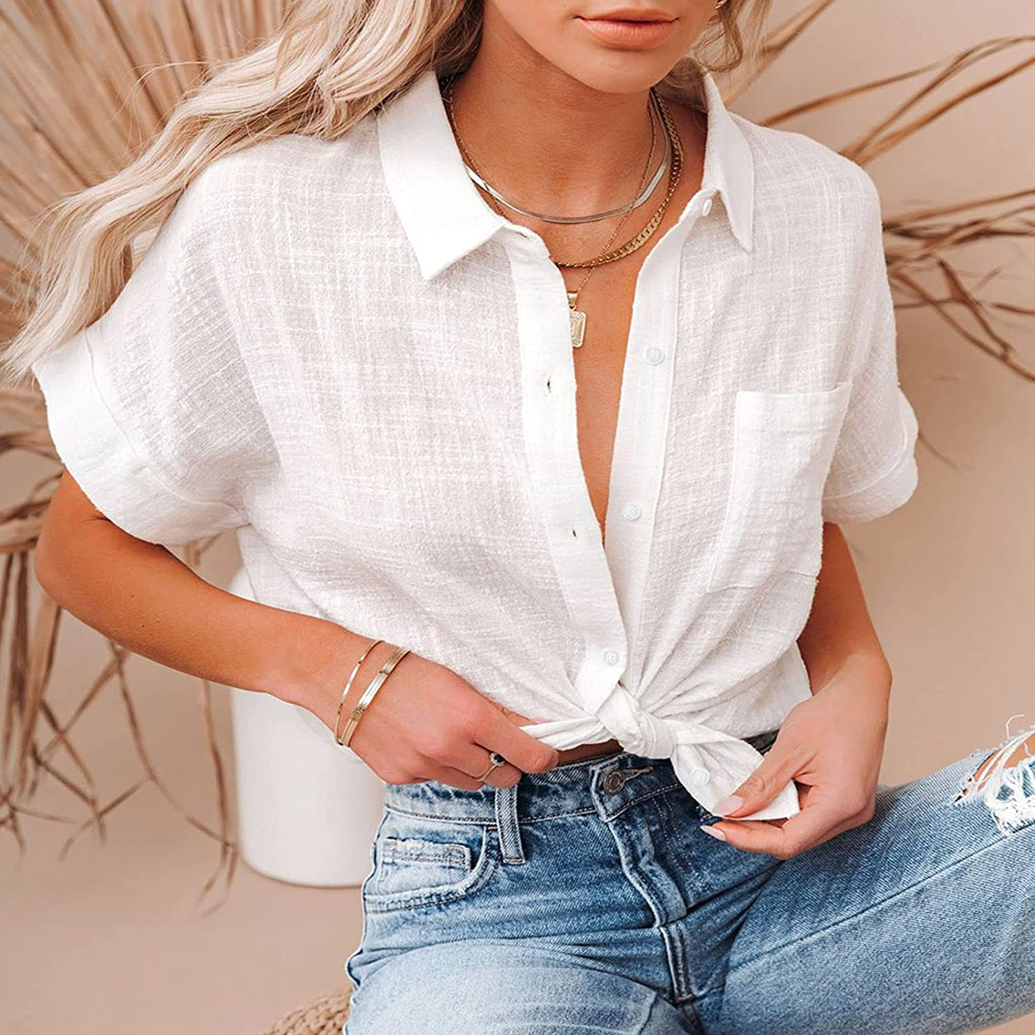 Fankle Women's Summer Casual Button-Down Shirts - V-Neck Long/Short Sleeve Business Office Plain Blouses Tops