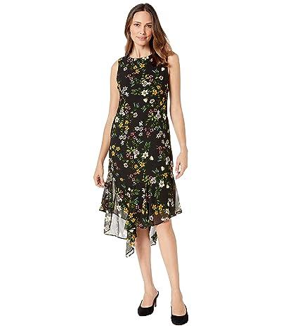 Calvin Klein Floral Print Chiffon Dress (Gold Multi) Women