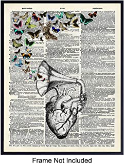 Heart Butterflies Dictionary Art Print - Vintage Upcycled Wall Art Poster - Chic Rustic Home Decor for Bedroom, Bathroom, Kitchen - Great Easy Gift For Her, Steampunk, Goth Fans - 8x10 Photo -Unframed