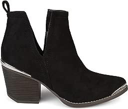 Brinley Co. Womens Faux Suede Stacked Wood Heel Metal Detail Side Slit Booties
