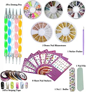DIY Glitter Nail Rhinestones Decorations Dotting Tool Water Transfer Sticker Decal Nail Line Tape Striping Nails Sanding Buffing File Beauty Accessories Nail Art Set Kit (Style 1)