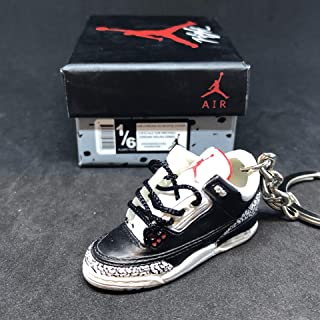 Air jordan III 3 Retro Black Cement 88 OG Sneakers Shoes 3D Keychain 1:6 Figure + Shoe Box